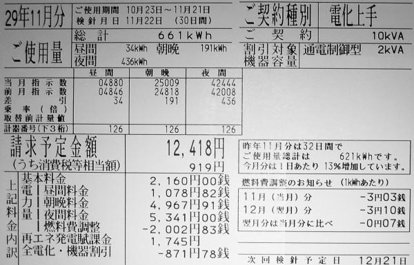 電気料金明細(2017年11月分)