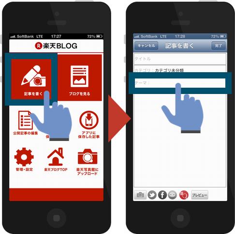 楽天ブログアプリからの投稿方法1
