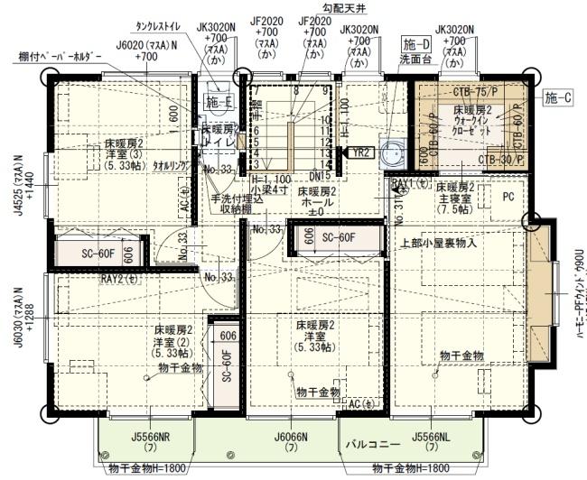一条工務店で建てた家の間取り1F