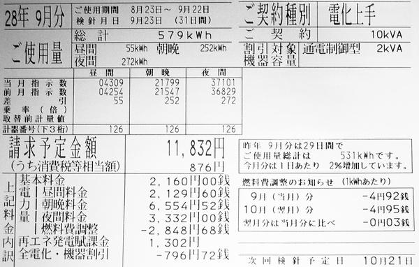 2016年9月分(8月23日から9月22日までの31日間)の電気料金明細