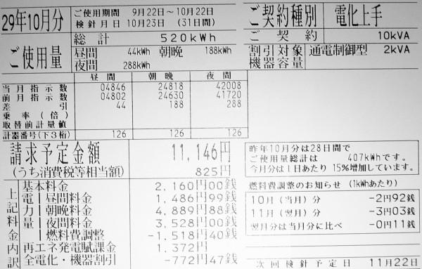 2017年10月の電気料金明細
