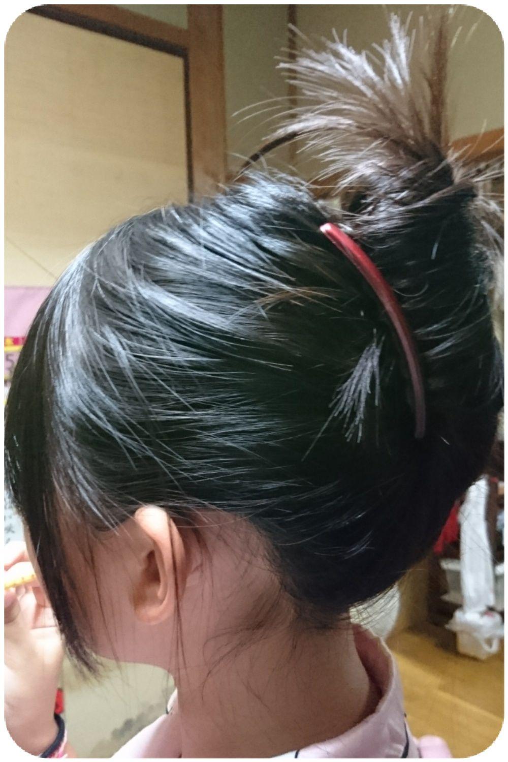 これは孫娘の髪の毛。多くても纏まる