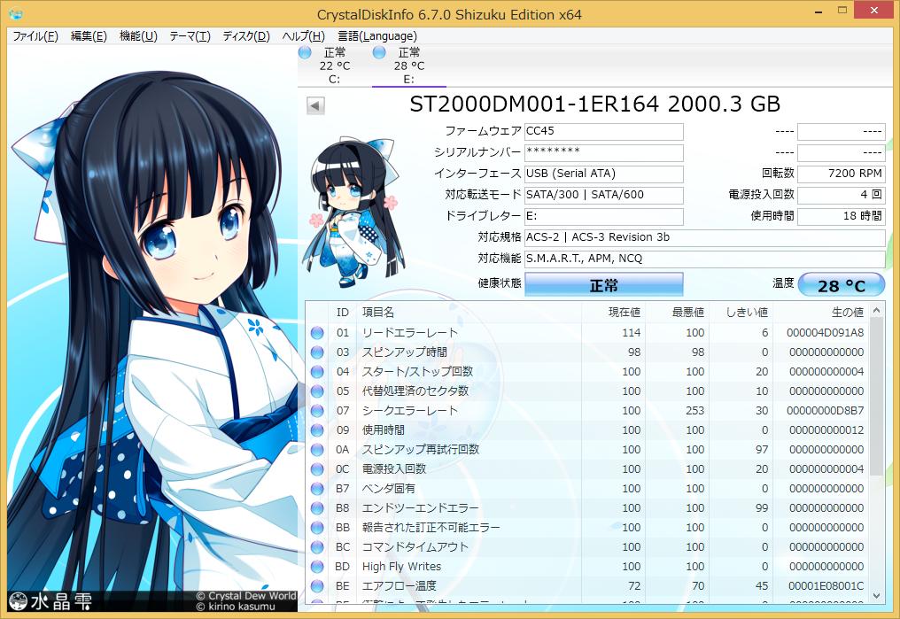 I-O DATA HDC-LA2.0 (CrystalDiskInfo)