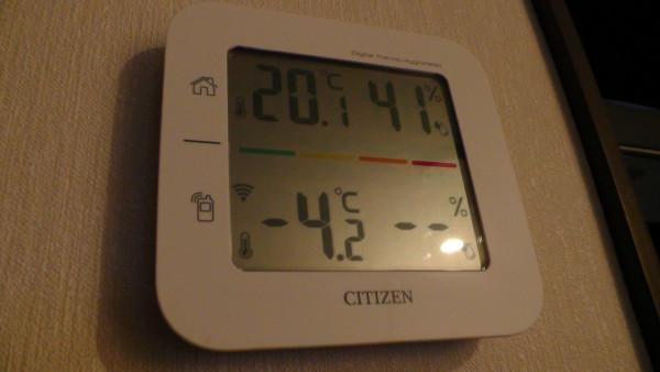 2時ごろの室内外の温度