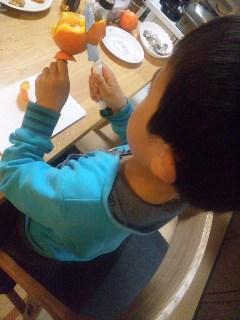 息子のオレンジのデクパージュ
