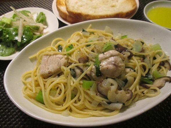 鶏胸肉と小松菜と椎茸のスパゲッティ