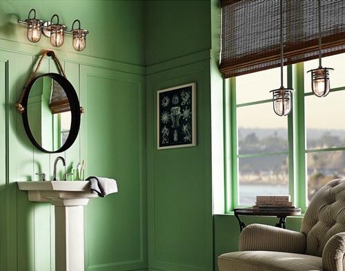 グリーンの部屋と輸入照明