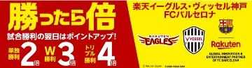 楽天「勝ったら倍」明日は何倍?楽天イーグルス・ヴィッセル神戸・FCバルセロナ勝利でポイント2・3・4倍キャンペーン!