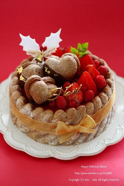 1117クリスマスケーキ赤背景に金リボン.jpg