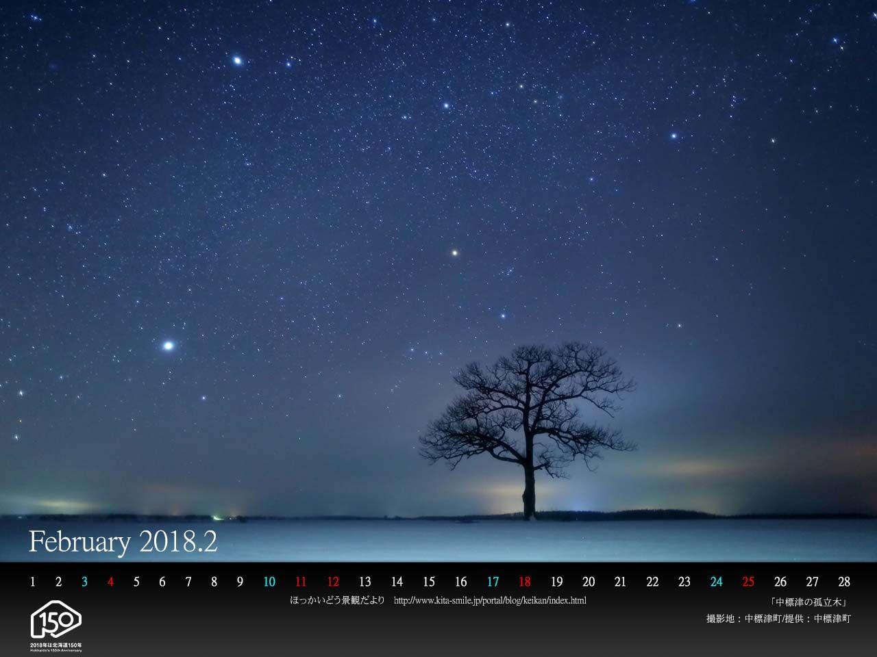 2月は中標津町 中標津の孤立木 です pc壁紙カレンダーを配布