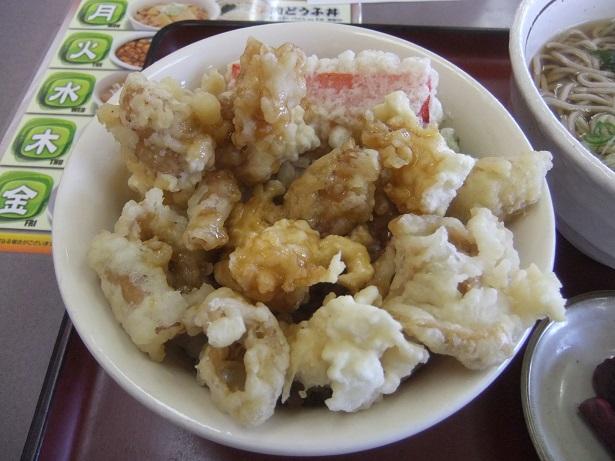 山田うどん和光北インター店のとり皮天丼セットのとり皮天丼