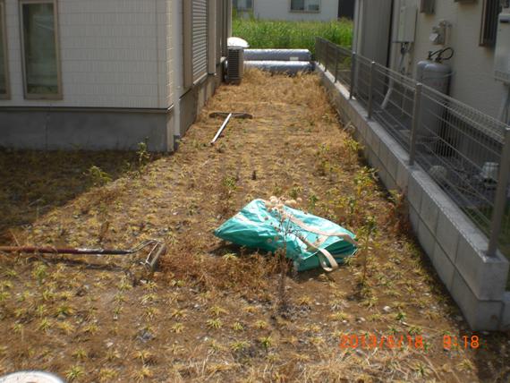 人工芝、施工前の雑草対策