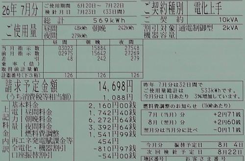 2014年7月分の電気料金明細