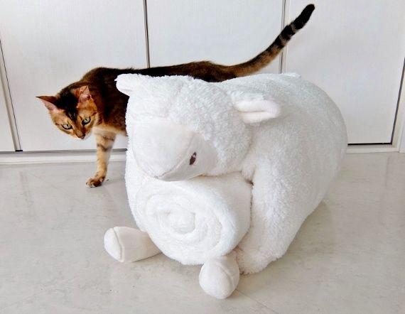 コストコ レポ ブログ ピロー&ブランケットセット 1,498円也(370円引き) アニマル 猫 羊 Little Miracle
