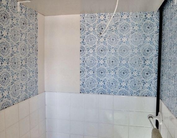洗面所のDIY 壁紙 賃貸でも大丈夫 はがせる アンティークタイル IKEA イケア