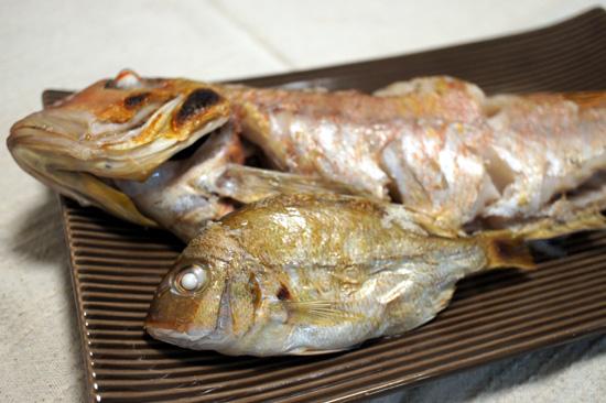 アマダイと小鯛の塩焼き