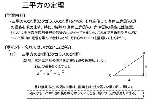 三平方の定理(ピタゴラスの定理)