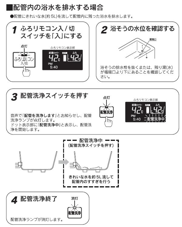 配管内の浴水を排水する場合
