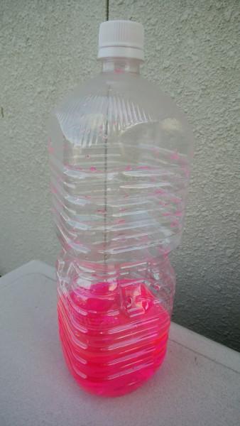 不凍液を補充した後のペットボトル