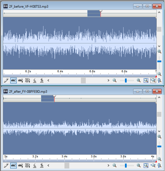 2Fトイレ換気扇:VF-H08TS3とFY-08PFE9Dの騒音を比較