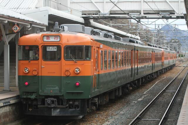 幻の春の雪 .しなの鉄道 169系 国鉄湘南急行色 6連2