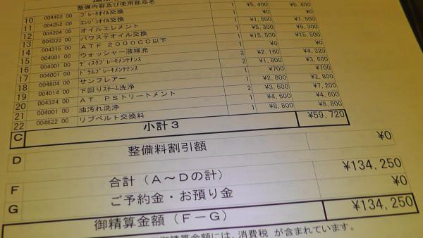 車検費用の明細