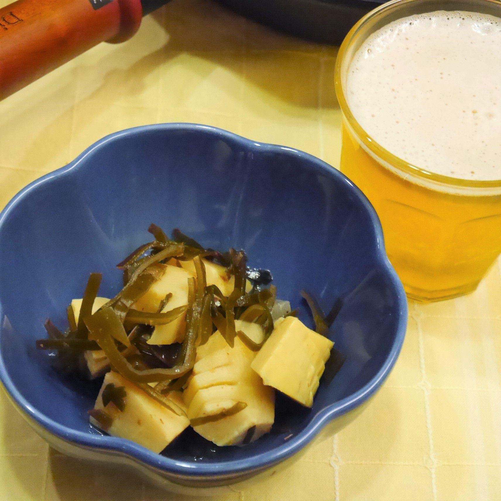 『もう一品』竹の子_竹の子と真昆布の煮物_ビール