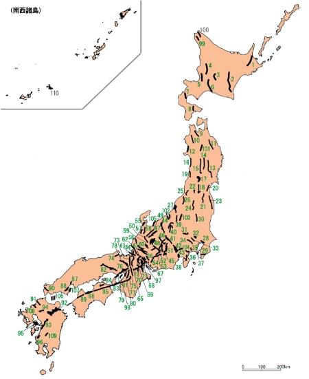 日本の110の活断層。地震調査研究推進本部「活断層の長期評価より」 - コピー.jpg