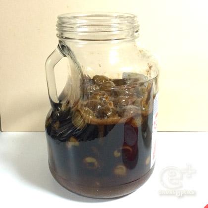 160613 黒砂糖ウメシロップをかき混ぜ後(漬けてまる4日)