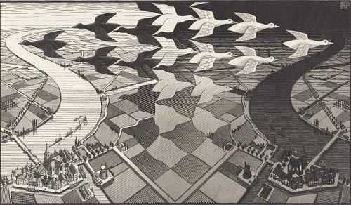 M.C.エッシャー「昼と夜」1938年 ss.jpg