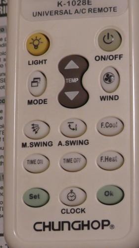 ボタン CHUNGHOP K-1028E UNIVERSAL A/C REMOTE