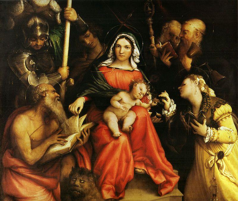 ロレンツォ・ロット Lorenzo Lotto『聖カテリーナの神秘的婚姻』聖 ...