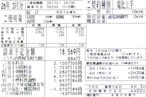 2014年3月分の電気料金明細