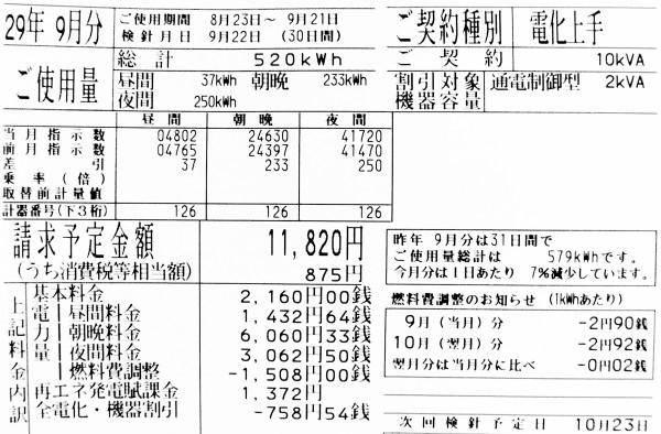 2017年9月の電気料金明細
