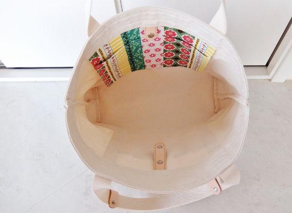 トートバッグ 帆布 キャンパス ヌメ革 手作り