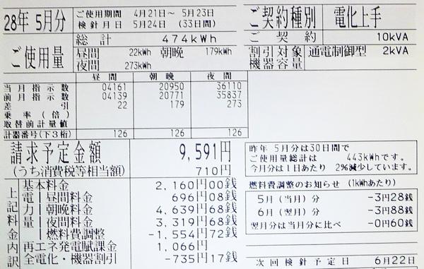 2016年5月分の電気料金明細
