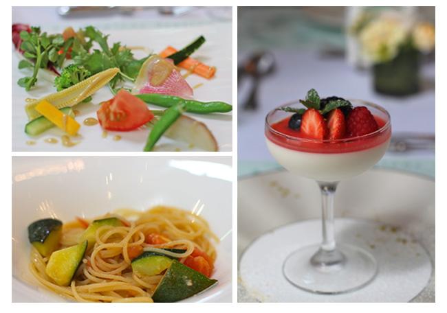 「ラ・ヴィータ・エ・ベッラ」の料理の一例。新鮮な野菜をちりばめた前菜、季節の食材を使ったパスタ、デザートのパンナコッタ。