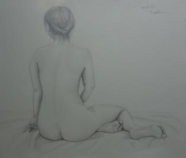 後ろ向き裸婦