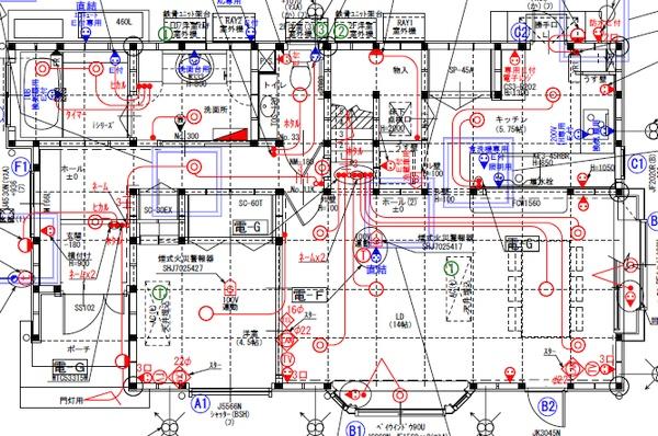 1階の電気図面