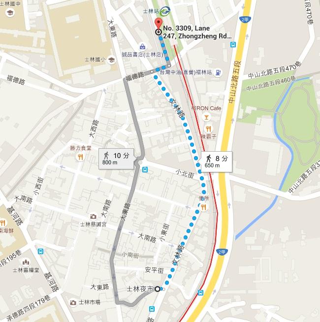士林  劍潭 MRT 台湾 台北 夜市 市場 地図