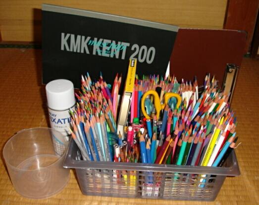 塗り絵色鉛筆画のお道具 onクリックちゃまるムササビと私