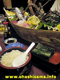 刺身と寿司飯と海苔