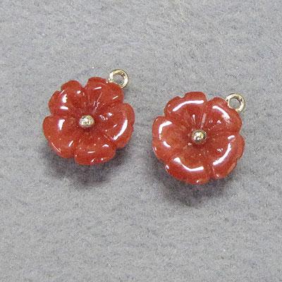 赤珊瑚花のピアス