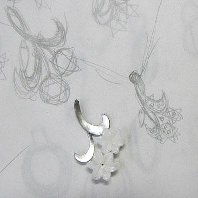 白珊瑚ユリのペンダント