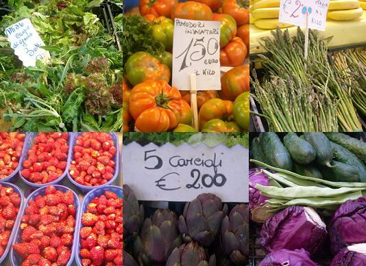 フィレンツェの市場の産品