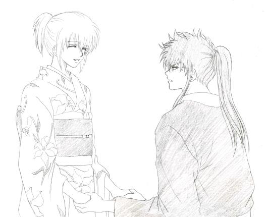 土方さんとミツバさん……なんとなく、この二人って手も握ったことがなさそうな気がしないでもないんですが、意外とナチュラルにベタベタしてたのもありかなあって(笑)