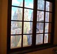 トイレ洗面台窓のだまし絵(ハウルの動く城)