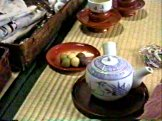 道後温泉本館2階広間 坊ちゃん団子と抹茶注文