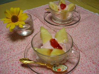 桃と桃のアイス