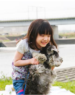 犬と遊ぶ芦田愛菜